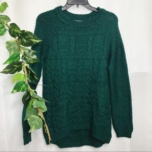 NEW 41 Hawthorn Stitchfix cable knit green sweater